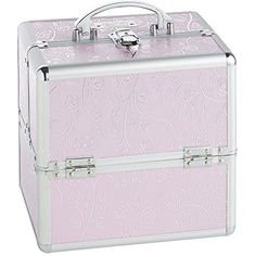 """Beautify Cosmetic Organizer Case - 10\"""" Professional Aluminum Makeup Storage Box (Pink Rose Beauty Train Case with Lock) ** Details can be found by clicking on the image."""