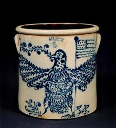 J. & E. Norton  Eagle Flag Crock      stoneware  Bennington, Vermont  circa 1876  13 1/2 inches high