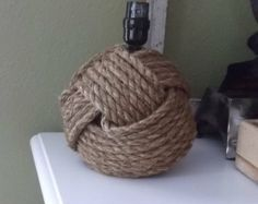 Nautical home decor - Two nautical style rope lamps without  shades - nautical decor