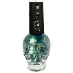 Blackheart Green Yellow Shimmer Nail Polish | Hot Topic ($5) ❤ liked on Polyvore featuring beauty products, nail care, nail polish and nail