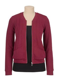 Textured baseball jacket (original price, $49) available at #Maurices