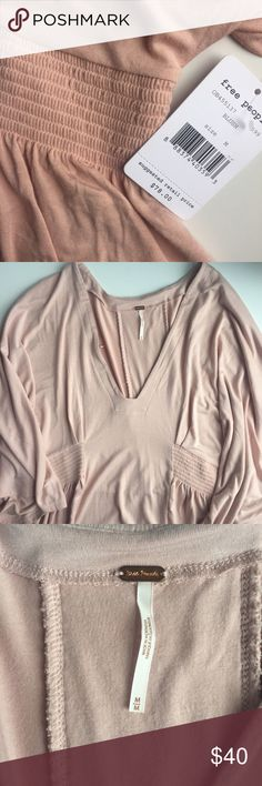 Free People Blush Pinched Waist Top Beautiful NWT Free People blush top in size M. So comfortable and also very elegant. Never worn or even tried on!   💞 Make a reasonable offer! Free People Tops Blouses