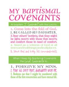 LDS Baptismal Covenants / Promise Printable Girl by WellmanDesigns Activity Day Girls, Activity Days, Baptism Quotes, Baptism Ideas, Baptism Covenants Lds, Lds Object Lessons, Baptism Talk, Baptism Program, Young Women Lessons