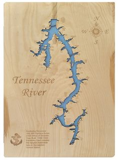 This is a beautifully detailed, laser engraved and precision cut topographical Map of the Tennessee River, McCracken Count and Livingston Counties, Tennessee with the following interesting stats carved into it:     Kentucky Reservoir     160,300 Surface Acres     2300 Miles of Shoreline     Year Built: 1938-1944     Kentucky Dam creates the largest manmade lake in the eastern United States