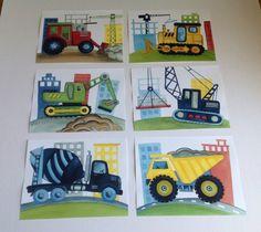 Construction trucks Little builder bedding wall art boys nursery art bulldozer  mixer crane by terezief
