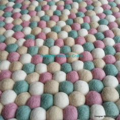 to Size Nepalese Handmade Wool Mint Pink Tan and White Felt Ball Rug Nursery Rug Kids Room Home Decoration Area Mat Turquoise Rug, Pink Rug, Baby Nursery Rugs, Colorful Playroom, Felt Ball Rug, Traditional Rugs, Kids Rugs, Handmade, Etsy