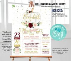 Pumpkin Milestone Birthday Poster, EDITABLE Burgundy First Birthday Chalkboard sign, Fall 1st birthday poster Instant download template Fall 1st Birthdays, Milestone Birthdays, Boy Printable, First Birthday Chalkboard, Virtual Baby Shower, Some Text, Baby Shower Invitations For Boys, Chalkboard Signs, Autumn Theme
