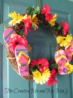 Looking for a rotating DIY project? A grapevine wreath provides the perfect reusable canvas. Cheryl loves to dress hers up in the colors (or accessories!) of the season. And nothing says summer quite like flip flops and Gerbera daisies!