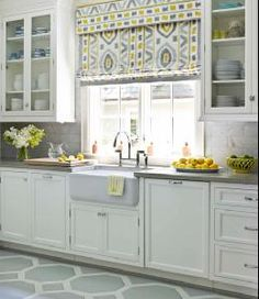 Lindsey Coral Harper House Beautiful Gorgeous kitchen design with silver gray & yellow ...