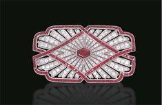 A RUBY AND DIAMOND BROOCH   Bezel-set with a hexagonal-cut ruby to the circular-cut diamond pierced rectangular panel with calibré-cut ruby trim. Art Deco or Art Deco style