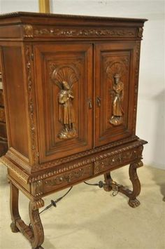 Spanish Cabinet Great Carved Detail Mirrored Interior | eBay