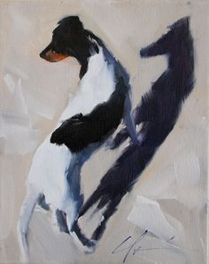 Black and White, brown Rat Terrier, Jack Russell Terrier on Beach, Shadow, Original Painting by Clair Hartmann