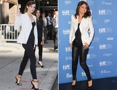 A elegante dupla preto e branco. Emma Watson e Selena Gomez montaram produções com peças que não são exatamente as mesmas, mas bem parecidas.