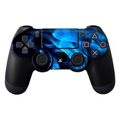 Playstation 4 PS4 Controller Vinyl Decal Skin Blue Flames