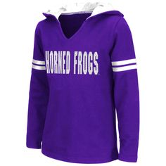 TCU Horned Frogs Colosseum Girls Youth Glitter V-Neck Hoodie - Purple - $31.99