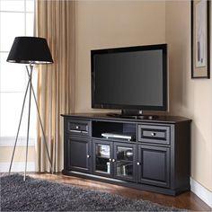 "Crosley Furniture 60"" Corner TV Stand in Black - CF1000260-BK - Lowest price online on all Crosley Furniture 60"" Corner TV Stand in Black - CF1000260-BK"