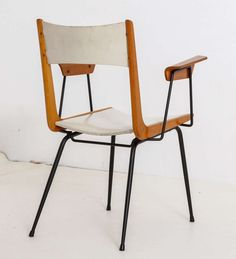 Carlo Ratti; Wood and Enameled Metal Armchair, 1950s.