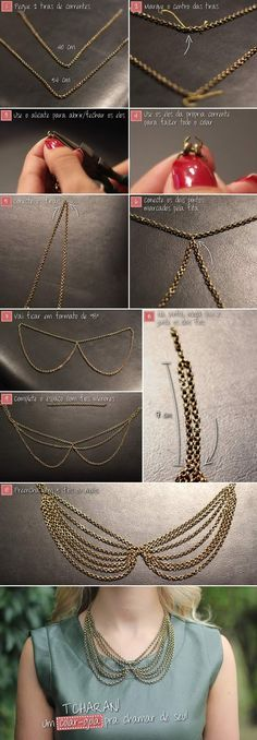 DIY Gold Collar Necklace diy crafts craft ideas easy crafts diy ideas crafty easy diy diy jewelry craft necklace diy necklace jewelry diy randomly sized chains from goodwill? Gold Diy, Diy Necklace Collar, Collar Chain, Fabric Necklace, Diy Ouro, Beaded Jewelry, Handmade Jewelry, Boho Jewelry, Fashion Jewelry