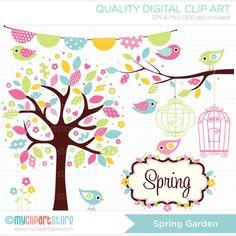 Spring Garden Clip Art / Digital Clipart por MyClipArtStore