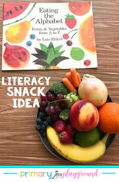 Literacy Snack Idea Healthy Alphabet   Free Printable Eating the Alphabet #letters #alphabet #preschool #kindergarten #literacysnack #booksnack