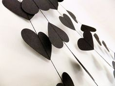 Rock & Roll Black Hearts Paper Wedding Garland  by FunkyFrillsUK, £17.95 - Anti Valentine's Day Party