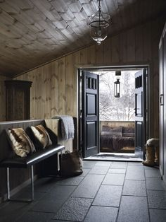 as in ski chalet. as in ski chalet. Chalet Design, House Design, Chalet Interior, Interior And Exterior, Interior Design, Cabin Interiors, Rustic Interiors, Cabin Homes, Log Homes