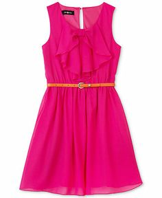 BCX Girls' 2-Piece Bow-Front Dress  Contrast Belt Set - Kids - Macy's