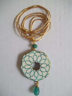 Ceramic Pendant, Ceramic Jewelry, Ceramic Beads, Play Clay, Anchors, Islamic Art, Clay Art, Tulip, Washer Necklace