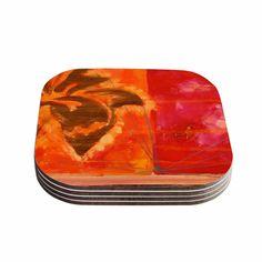 Kess InHouse Nathan Gibbs 'Destination: She Surfs' Orange Floral Coasters (Set of (Destination: She Surfs) Monogram Coasters, Agate Coasters, Marble Coasters, Wooden Coasters, Stone Coasters, Coaster Holder, Coaster Set, Arrow Design, Surfs