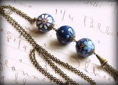 Sautoir style bohème perles en bois peintes à par LesBijouxDeMarie