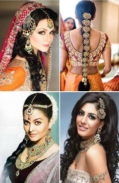 Browse wide collection of Indian Wedding Hairstyles for women. Hairstyles for short, medium and long hair. Hairstyles for Indian women from South and North. Wedding Hairstyles For Women, Wedding Hairstyles For Long Hair, Vintage Hairstyles, Summer Hairstyles, Soft Bridal Makeup, Indian Bridal Makeup, Long Indian Hair, Traditional Hairstyle, Make Up Braut