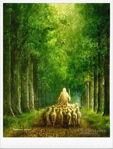 painting of jesus christ leading a flock of sheep through tall green trees Images Du Christ, Pictures Of Jesus Christ, Bible Pictures, Church Of Jesus Christ, Jesus Christ Painting, Jesus Art, Image Jesus, Jesus Loves Us, Lds Art