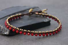 Items similar to Beaded Anklets Red Crystal Woven Macrame Brass Lace on Etsy Woven Bracelets, Ankle Bracelets, Jewelry Bracelets, Bracelet Making, Jewelry Making, Hanging Beads, Ankle Chain, Beaded Anklets, Macrame Jewelry