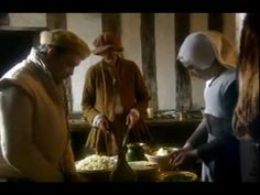 """Ruth Goodman, Alex Langlands, Peter """"Fonz"""" Ginn and Hugh Beamish - under the supervision of Marc Meltonville of Hampton Court Palace's tudor kitchens - prepare and serve a tudor banquet at Haddon Hall in Derbyshire. This was filmed in 2006, after """"Tales from the Green Valley"""" but before """"Victorian Farm""""."""