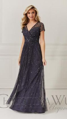 Evening Dresses With Sleeves, Evening Gowns, Christina Wu, Mother Of The Bride Gown, Plus Size Gowns, Bridal And Formal, Bride Gowns, A Line Gown, Dress Silhouette