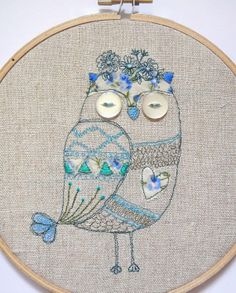 "Freehand Machine Embroidery - Hoop Art - Original Blue Owl Illustration - 6"" - In our Etsy Shop :)"