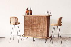 Mid Century Rattan Tiki Bar + Pair Bar Stools