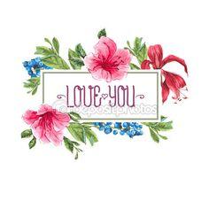 Vintage acuarela tarjeta de felicitación con flor exóticas flores — Ilustración…