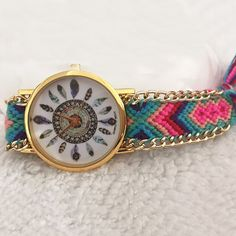 Folk Style Weaving Watch, adjustable & for woman, more colors for choice.