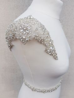 1 pair shoulders, Luxury applique, Shoulder Applique, Bridal Epaulettes, bridal applique, dress embellishment,  beaded applique, MARY- SH by MagnificenceBridal on Etsy https://www.etsy.com/nz/listing/508963675/1-pair-shoulders-luxury-applique