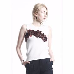 COLE COOL Women's Sequin Embroidery White Jersey Tank Top #COLECOOL #CropTop #Casual