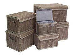 Grey Bamboo Storage Boxes