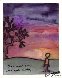 ORIGINAL ART. You'll Never Know What You're Missing. Small painting of a figure watching a sunset.