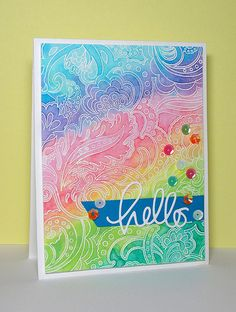 Rainbow Hello ~ water color resist. Stamp is Hero Arts' Flower Dot Pattern. Die-cut sentiment is from Simon Says Stamp.