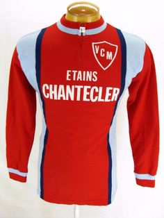 Mens Vintage Knit Etains Chantecler Tricots du Rocher Cycling Jersey Sweater L | eBay