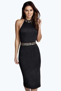 Boutique Monroe Embellished Neckline Midi Bodycon Dress - boohoo Boutique - Vêtements Femme