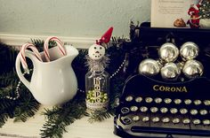 When too busy during the holidays....how to decorate your Typewriter - vintage Christmas ornaments