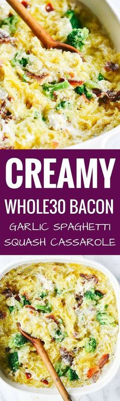 Easy whole30 creamy bacon garlic spaghetti squash bake. Paleo, healthy, and easy to make! Get ready to dig into some serious delicious and healthy eats!! How to cook spaghetti squash. Healthy spaghetti squash bake. Easy whole30 dinner recipes. Whole30 rec Whole30 Dinner Recipes, Paleo Dinner, Paleo Recipes, Whole Food Recipes, Paleo Meals, Dog Recipes, Free Recipes, Potato Recipes, Hamburger Recipes