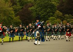 This is the pipe band and major at Floors Castle's massed piped bands day.