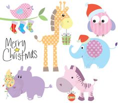 Christmas Clip Art Baby Animals Cute Animals Clipart Pastel Digital Download Xmas Christmas Elephant Giraffe Zebra Owl Bird Rhino 10420. $5.90, via Etsy.